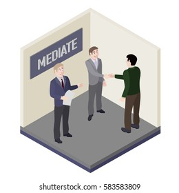 A group of people. Mediator and solution of conflict in mediation room. Vector, isometric, illustration