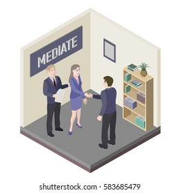 A group of people. Mediator and solution of conflict between man and woman in mediation room. Vector, isometric, illustration