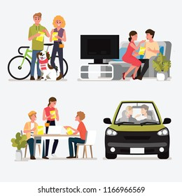 Group People Meeting and Dating for eat snacks set .Vector illustration cartoon character.