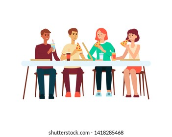 Group of people men and women eating pizza at restaurant or at home flat vector illustration isolated on white background. Friends or colleagues having meal together.