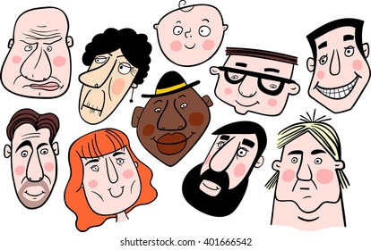 Group of people. Mosaic of cartoon faces. Vector.