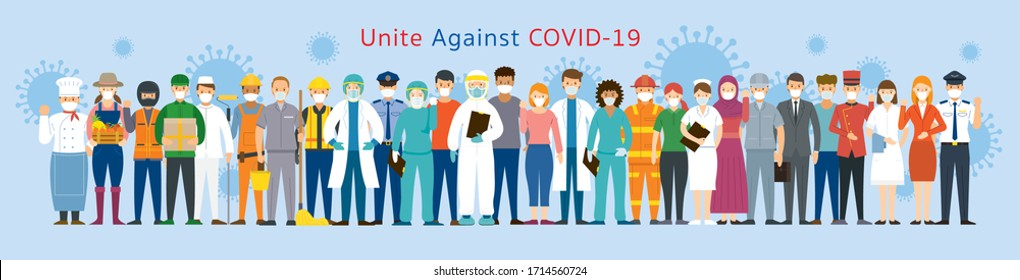Gruppe von Menschen Multinationale Gefechtsmaske, vereint zur Verhütung von Covid-19, Coronavirus-Krankheit