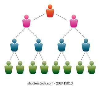 A group of people in the office. Organizational structure and team. Vector Illustration and icons set for infographics.