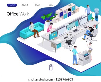 Group of people in the office work on the computer, relax, talk, print materials  3d isometric vector illustration.Web page design templates for business.