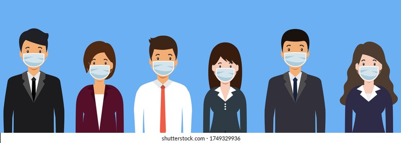 Group of people. Office worker. Men and women wearing medical face masks. prevent pandemic of corona virus or COVID-19 in new normal concept. Flat Vector illustration.