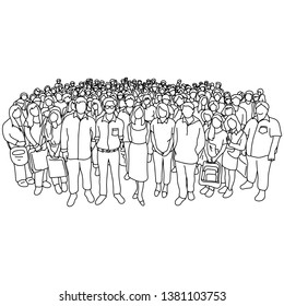 Gruppe von alten und jungen Menschen mit unterschiedlichem sozialen Status Vektorgrafik-Skizze-Doodle-handgezeichnet mit schwarzen Linien einzeln auf weißem Hintergrund