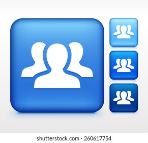 Group of People on Blue Square Button