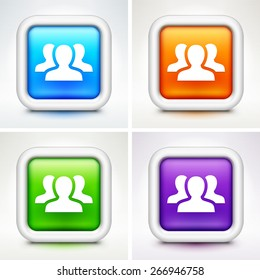 Group of People on Colorful Square Buttons