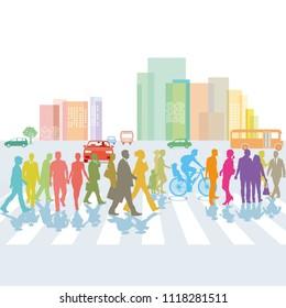 Group of people on the pedestrian crosswalk. illustration