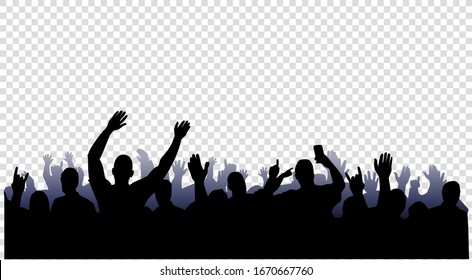 Group of people on a transparent background. Isolated image of fans near the stage.  Vector illustration.