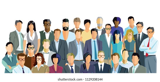 Group of people on white background illustration
