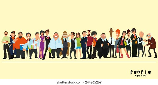 A group of people on a yellow background. vector illustration of a flat style.