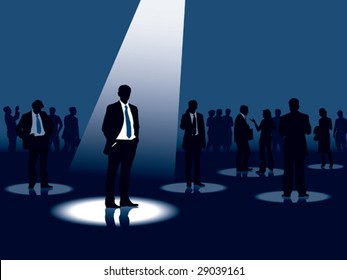 Group of people and one man selected, conceptual business illustration.
