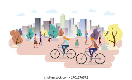 Group of people in the park. Color cityscape ecology.  People using mobile internet technology. Building panorama background. vector illustration.