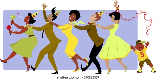 Group of people in party hats, dressed in late 1950s early 1960s fashion dancing conga with maracas, little boy throwing a streamer, vector illustration, no transparencies, EPS 8