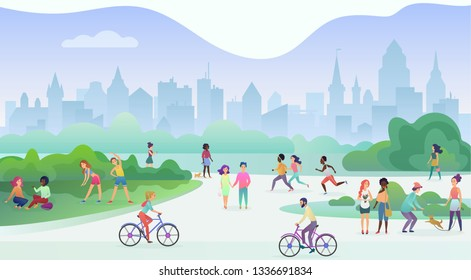 Group of people performing sports activities at park. Doing gymnastics exercises, jogging, talking and walking, riding bicycles, playing with pets. Modern public city park street vector illustration.