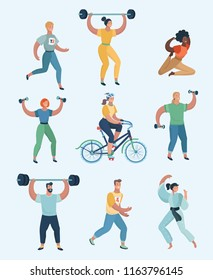 Group people practicing exercises of different kinds of sport. Set of humans doing sports.Vector cartoon illustration in modern concept