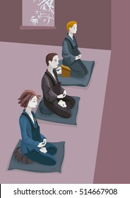 A group of people practicing zen meditation (zazen). Sitting in silence concentrated in the breath and in koan MU
