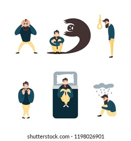 Group of people with psychology or psychiatric problem. Illness men in anxiety disorder. Phobia, suicide, fear and other mental disorder vector illustration.