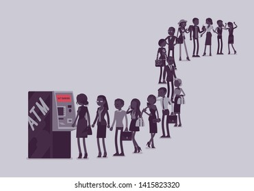 Group of people queuing in a line near ATM. Members of different nations, sex, age, jobs standing together waiting for bank service. Vector illustration with faceless characters