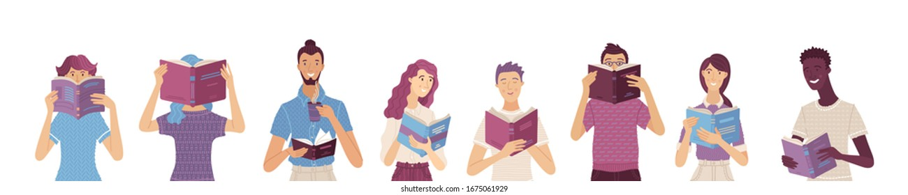 Group of people reading books. Cartoon men and women stand and hold a book in their hands. Vector characters set. Book lovers, students, self-education consept. Book festival banner template