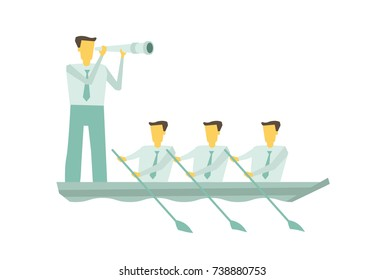 Group of people rowing boat together. Business teamwork leadership concept. Leader working in team, motivating to move forward for success