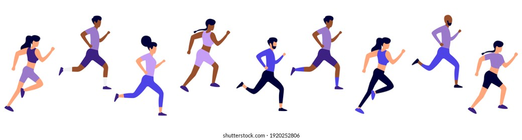 A group of people running a marathon. Marathon runners competing for victory in running. Healthy lifestyle concept. Vector illustration on isolated background. Stock illustration EPS 10