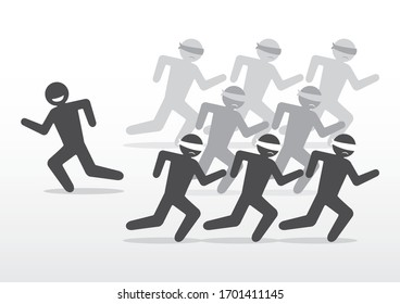 A Group of People Running in the Same Direction While Blindfolded and Sad  while Following a Person Against Their Will Who Goes the Other Way Misleading them and has Taken Advantage of a Situation
