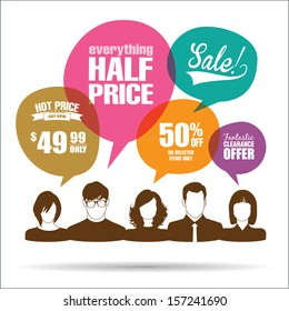 Group of people with sale promotion speech bubbles