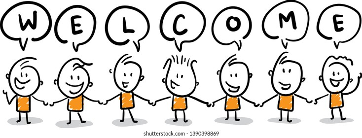 Group of people say welcome. isolated vector illustration outline hand drawn doodle line art cartoon design character.