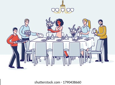 Group of people serving table for dinner. Cartoon men and women putting dishes, glasses and flowers on table. Celebration or family dinner event preparation. Linear vector illustration
