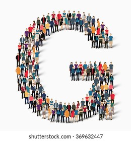 group  people  shape letter G vector