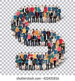 group  people  shape letter S vector Transparency