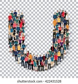 group  people  shape letter U vector Transparency