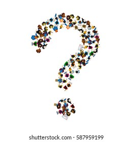 A group of people in a shape of a question mark, isolated on white background. Vector illustration.