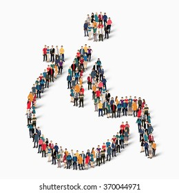 Group of people in the shape of a wheelchair, disabled symbol. Vector illustration.