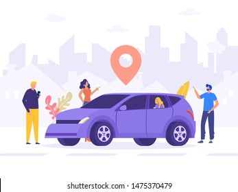 group of people sharing car, online car sharing service vector , happy friend with multi ethnic standing next to car, can use for, landing page, template, ui, web, mobile app, poster, banner, flyer