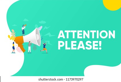 Group of people shouting on megaphone   with attention please word vector illustration concept, can use for, landing page, template, ui, web, mobile app, poster, banner, flyer