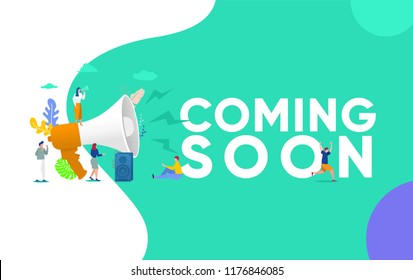 Group of people shouting on megaphone   with coming soon word vector illustration concept, can use for, landing page, template, ui, web, mobile app, poster, banner, flyer