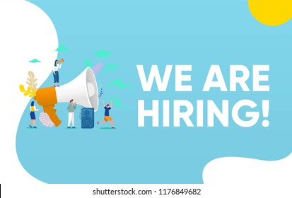 Group of people shouting on megaphone   with we are hiring word vector illustration concept, can use for, landing page, template, ui, web, mobile app, poster, banner, flyer, background