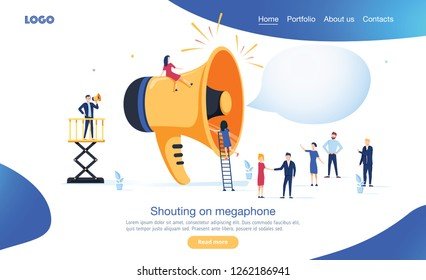 Group of people shouting on megaphone vector illustration concept. Online marketing business promotion illustration. Can use for, landing page template ui for web, mobile app or poster banner.