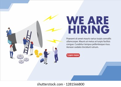 Group of people shouting on megaphone with we are hiring word vector template illustration modern concept, can use for, landing page, template, Ui, web, mobile app, poster, banner, flyer, background -
