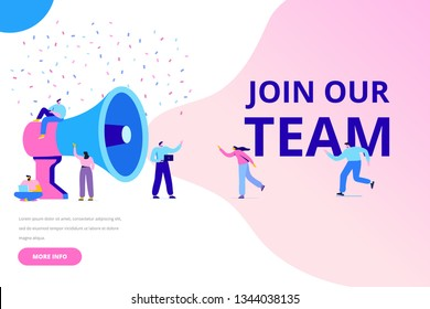 Group of people shouting on megaphone Join our team vector illustration concept. Flat style  illustration for web.