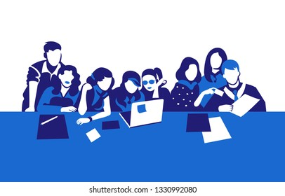 Group of people silhouettes vector banner design. Female, male office workers, designers. Students, pupils studying. Colleagues, coworkers, friends together. Teamwork illustration with copyspace