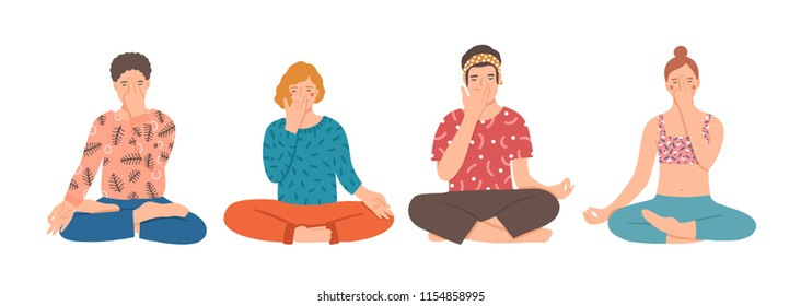 Group of people sitting cross-legged on floor and performing yoga breathing exercise. Young men and women practicing Pranayama and meditating. Colorful vector illustration in flat cartoon style