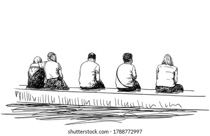 Group of people sitting on bench in line keep small distance from each other view from back, Vector sketch Hand drawn illustration