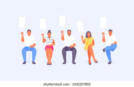 Group of people sitting with scorecards. Jury and refereeing. Vector illustration