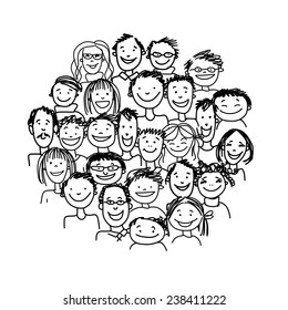 Group of people, sketch for your design. Vector illustration