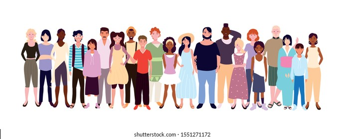 group of people smiling on white background vector illustration design