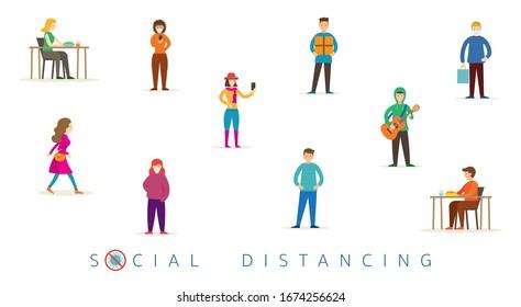 Gruppe der Menschen im sozialen Distanzkonzept Schutz und Vorbeugung von Coronavirus Covid-19